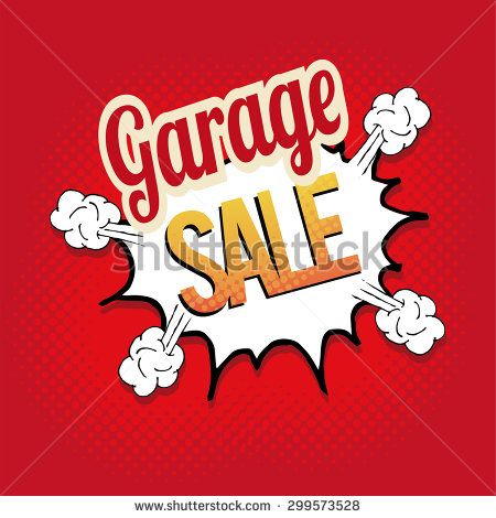 garage sale illustrator over retro background