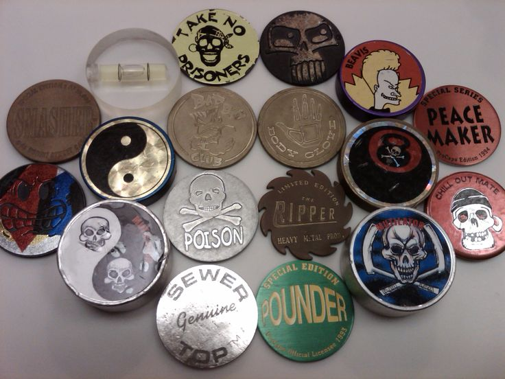 Slammers for pogs. I can't find any good photos of these things. I had so many good ones.