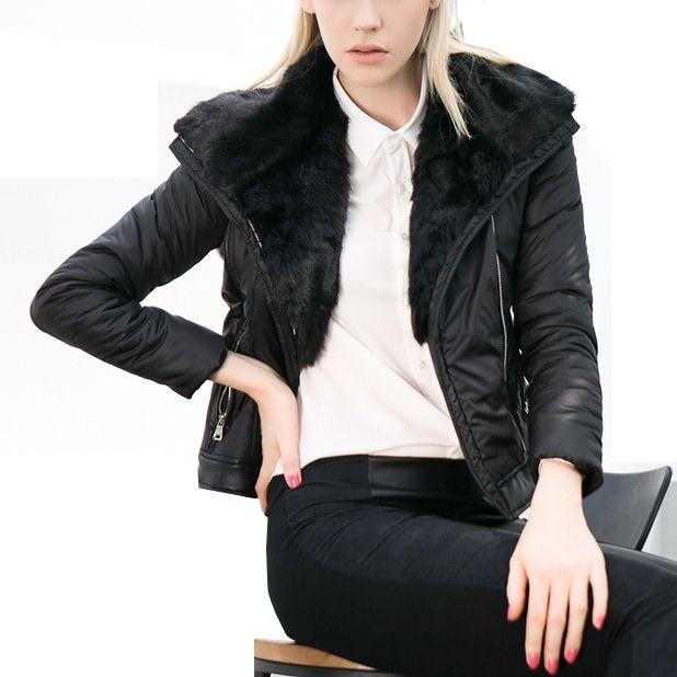 29.00$  Buy now - https://alitems.com/g/1e8d114494b01f4c715516525dc3e8/?i=5&ulp=https%3A%2F%2Fwww.aliexpress.com%2Fitem%2F2016-Winter-Fashion-Outdoor-Women-Short-Coat-PU-Fur-Collar-Padded-Cotton-thicken-Slim-Female-Basic%2F32719629864.html - 2016 Winter Fashion Women Short Coat PU Fur Collar Padded Cotton thicken Slim Female Basic Jackets Wadded Plus Size
