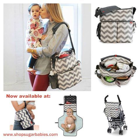New grey chevron diaper bag!! Love this trendy print. www.shopsugarbabies.com