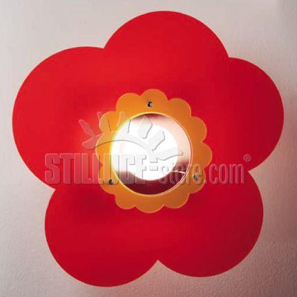 Toffolights Margherita lampada a soffitto o parete. Diffusore in metacrilato disponibile nelle seguenti combinazioni di colore: margherita bianco/acquamarina (C1/C2), bianco/arancione (C1/C4), bianco/verde (C1/C5), bianco/fucsia (C1/C6), rosso/arancione (C8/C4), rosso/verde (C8/C5).