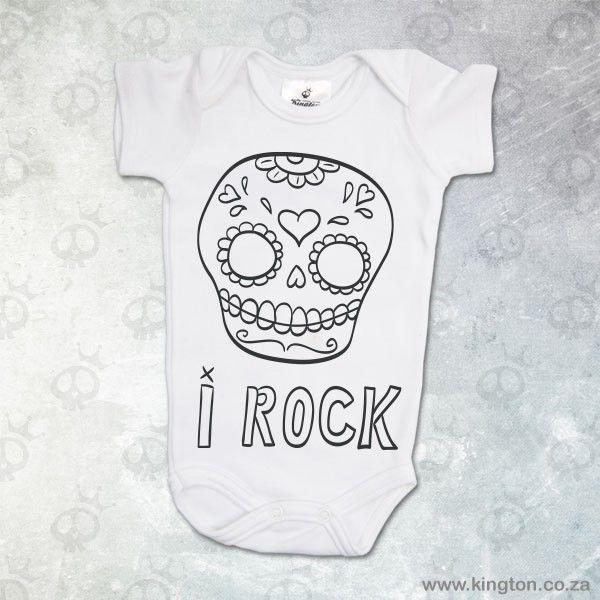 I Rock - White babygrow with #SugarSkull & I Rock lettering. #KingtonKustomKulture