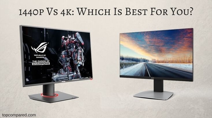 Benefits of 1440p and 4k Monitor screens for PC  http://topcompared.com/2017/02/23/1440p-vs-4k/  Resolution of a monitor is the amount of width and height in pixels. 1440P monitor resolution is also known as QHD, WQHD or Quad HD. while 4K has alternative names like UHD, Ultra HD, or 2160P. 4K is the latest resolution standard and a bit costly.