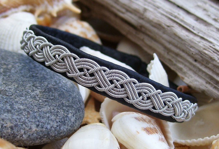 Swedish Lapland Bracelet, Black Reindeer Leather and Pewter Wire, Sami Jewelry.
