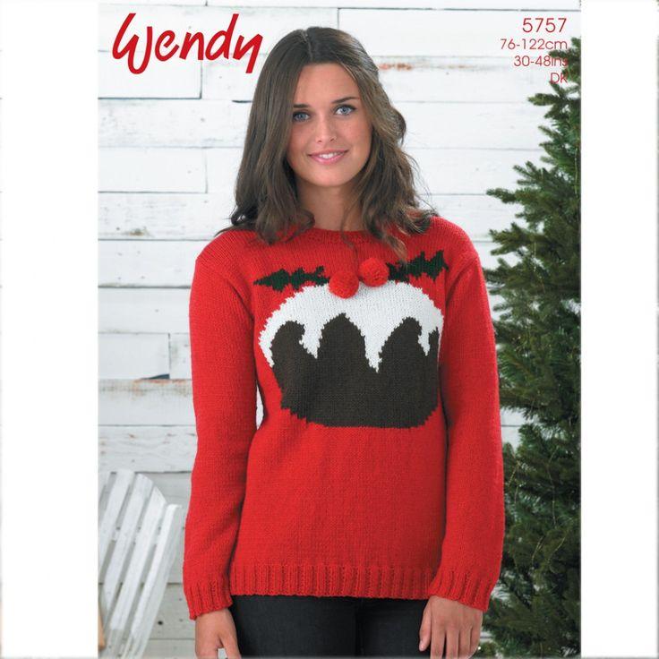 Wendy Ladies Christmas Pudding Sweater Mode DK Knitting Pattern 5757