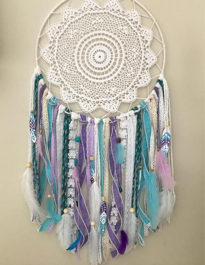 Large Turquoise and Purple Dream Catcher