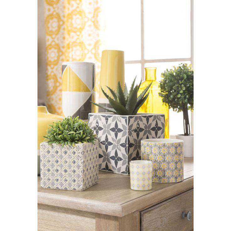 Vase haut en grès jaune/gris H 30 cm YELLOW   Maisons du Monde