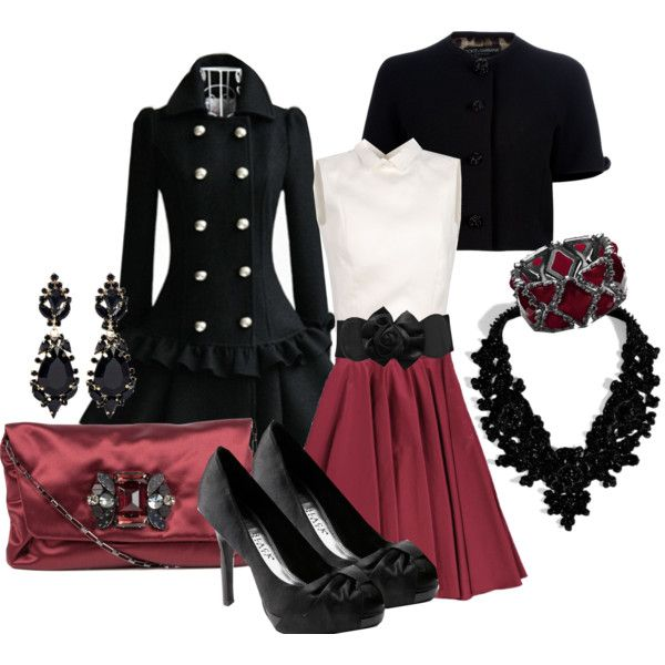 """Black trench dressed up, burgundy red skirt, classic white top, black shrug, black jewelry, """"Classic Beauty"""" by stylesbyjoey on Polyvore. Night out, black tie affair, ballet, opera, winter wedding, Valentine date night."""
