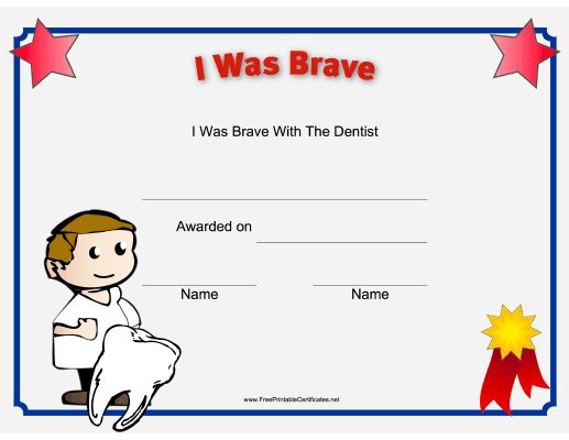 51 best scrapbooking images on pinterest printable certificates this printable certificate recognizes a childs bravery at the dentist and is illustrated with a yadclub Gallery