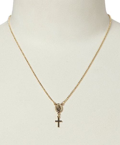 Look at this Gold Miraculous Double Medal Scapular Necklace on #zulily today!
