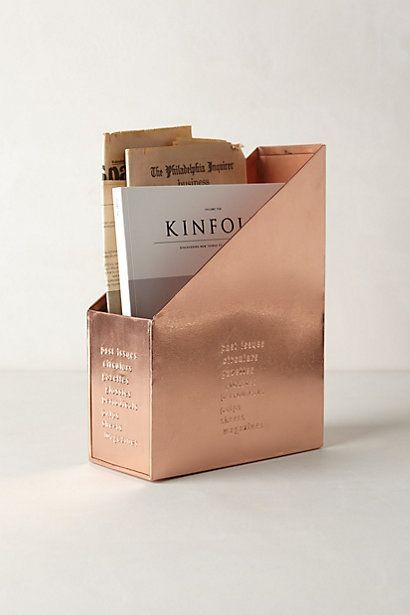 copper magazine tidy from anthropologie uk.