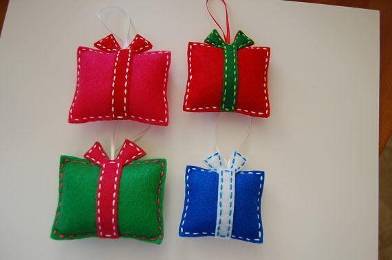Felt Christmas ornaments. Gift box Christmas ornaments. Set of 4.                                                                                                                                                                                 More