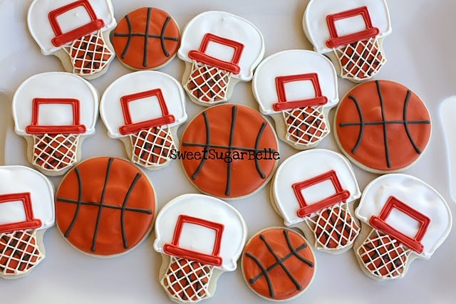 Basketball cookies, perfect for any NCAA First Four party or tailgating. #firstfourdayton: Cookies Ideas, Basketball Cupcake, Basketb Parties, Basketball Cookies, Theme Parties, Marching Mad, Basketb Cookies, Basketball Parties, Cute Cookies