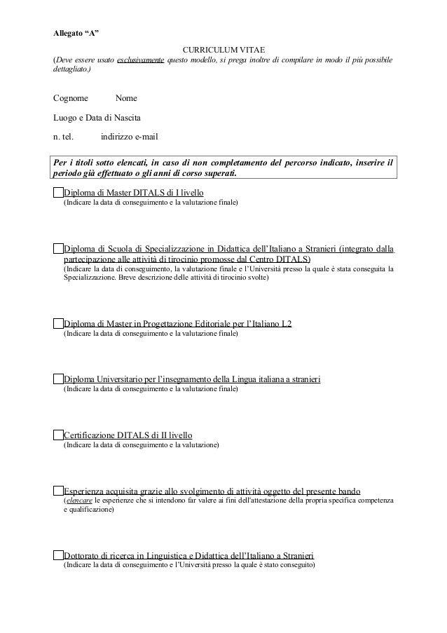 Esempio Allegato N Curriculum Vitae Modelos De Curriculum Vitae