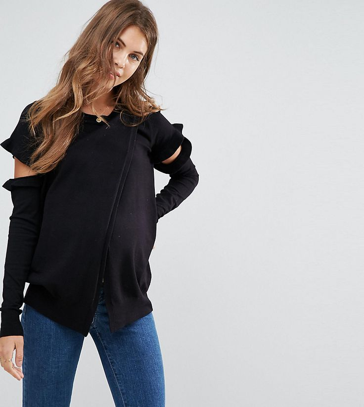 ASOS Maternity NURSING Split Sleeve Sweater - Black
