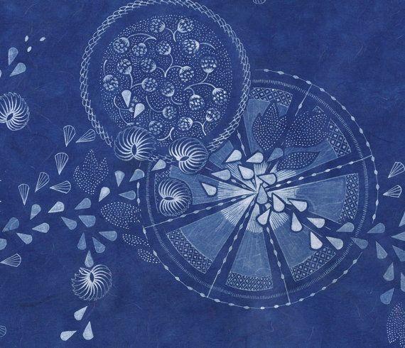 Archival Art Print 'Long Leafvine on Blue' on Cotton by naturewrap, $22.00