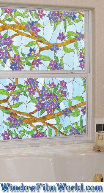Biscayne Stained Glass Privacy Window Film from WindowFilmWorld.com