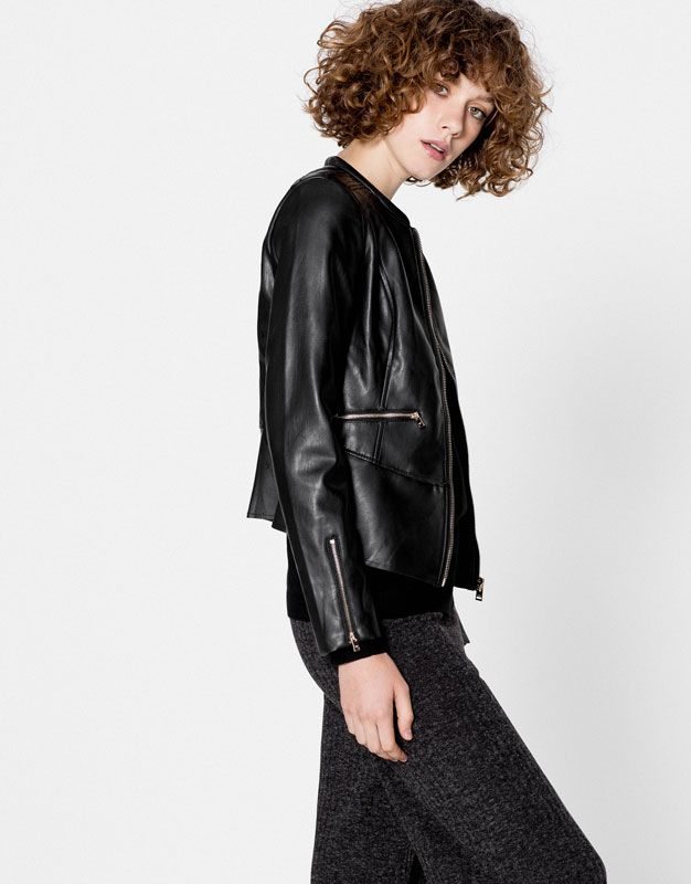 Faux leather peplum jacket - Sale - Woman - PULL&BEAR United Kingdom