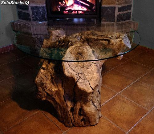 mesa rústica con tronco de olivo centenario