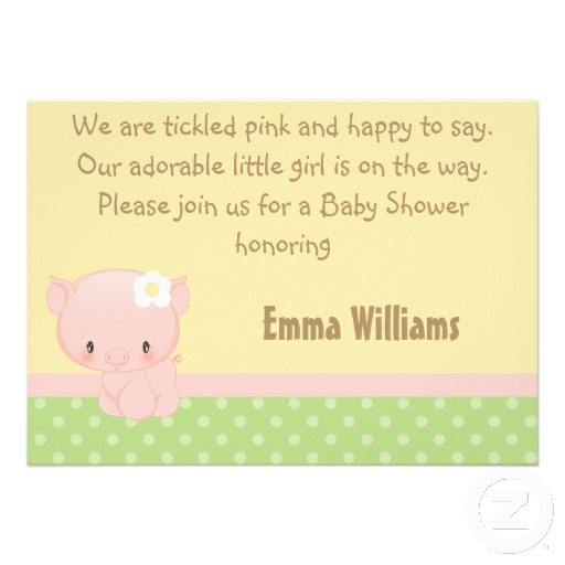 Diddles Farm Pig Baby Shower Invitation {I like the phrasing, not the invite}