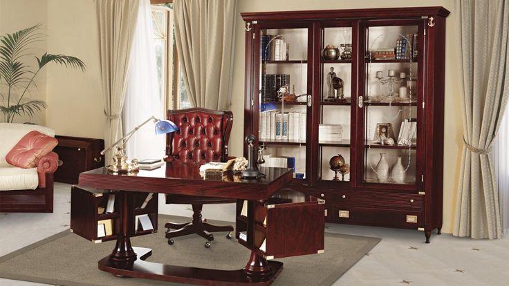 Libreria con ante in vetro e scrivania orientabile. by #Caroti #VecchiaMarina #HandMade