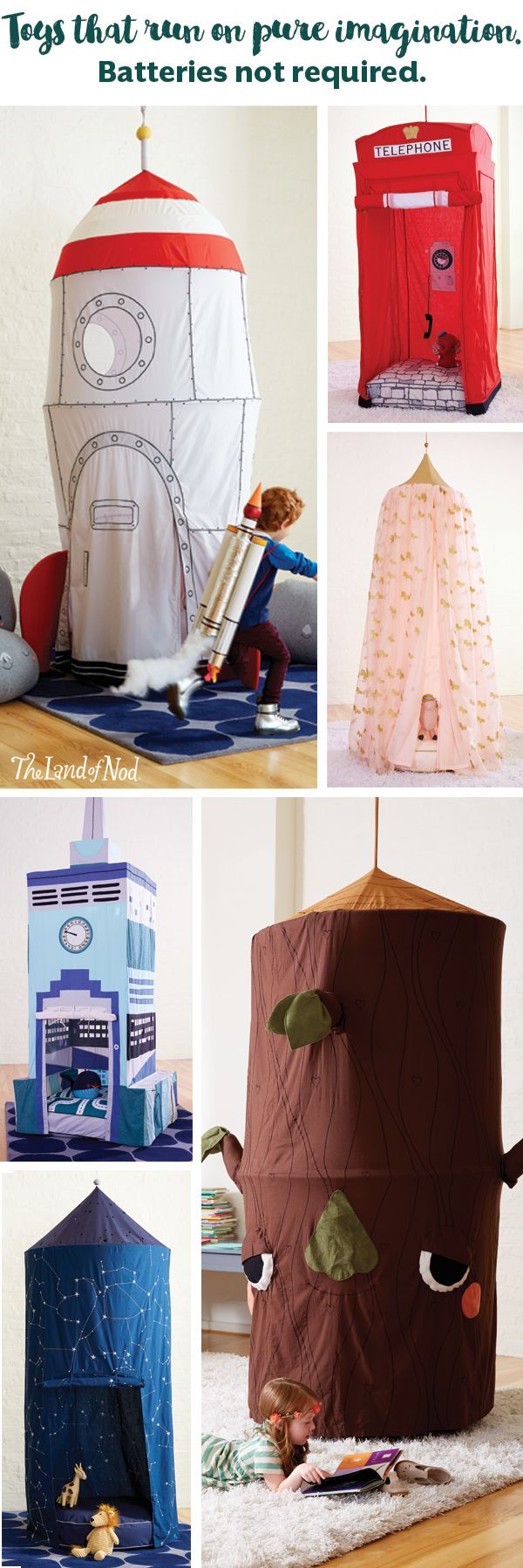 Create a playspace anyplace with a teepee, hanging canopy or playhouse. By choosing a playhouse that's both functional and chic, you can add interest to your living space, while also keeping the little ones busy.