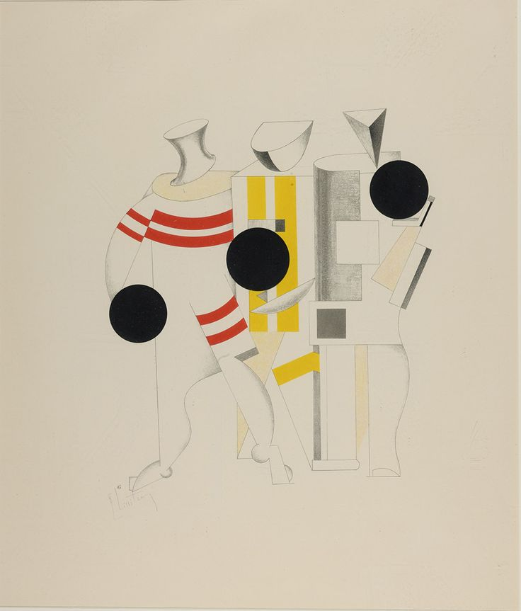 "El Lissitzky: Costume design for the Sportsmen from the portfolio ""Die Plastische Geschtaltung der Elektro-Mechanischen Schau ""Sieg über die Sonne"" for Victory over the Sun (unrealised), 1923. Lithograph on paper. St. Petersburg Museum of Theatre and Music, St. Petersburg"