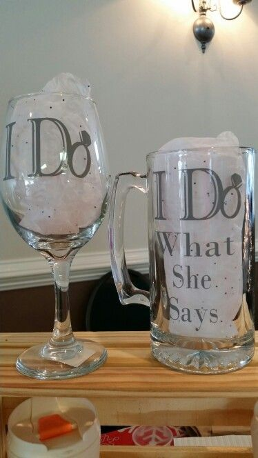 I do and I do what she says. Wine glasses funny sayings for couples, wedding presents, engagement presents ideas @VinoPlease #VinoPlease