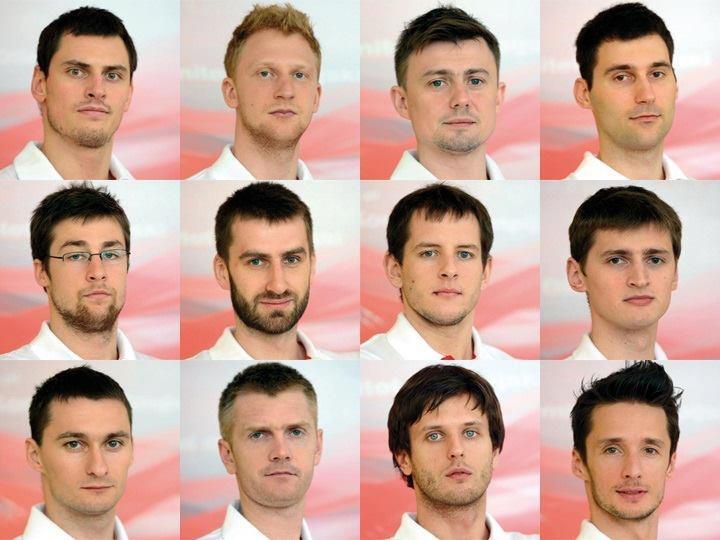 The Olympic Games London 2012 is coming. Polish volleyball team. 1st row, from the left: Zbigniew Bartman, Jakub Jarosz, Krzysztof Ignaczak, Grzegorz Kosok. 2nd row, from the left: Michał Kubiak, Marcin Możdżonek, Bartosz Kurek, Piotr Nowakowski. 3rd row, from the left: Michał Ruciak, Paweł Zagumny, Michał Winiarski, Łukasz Żygadło.    I really love those guys and the staff! :))