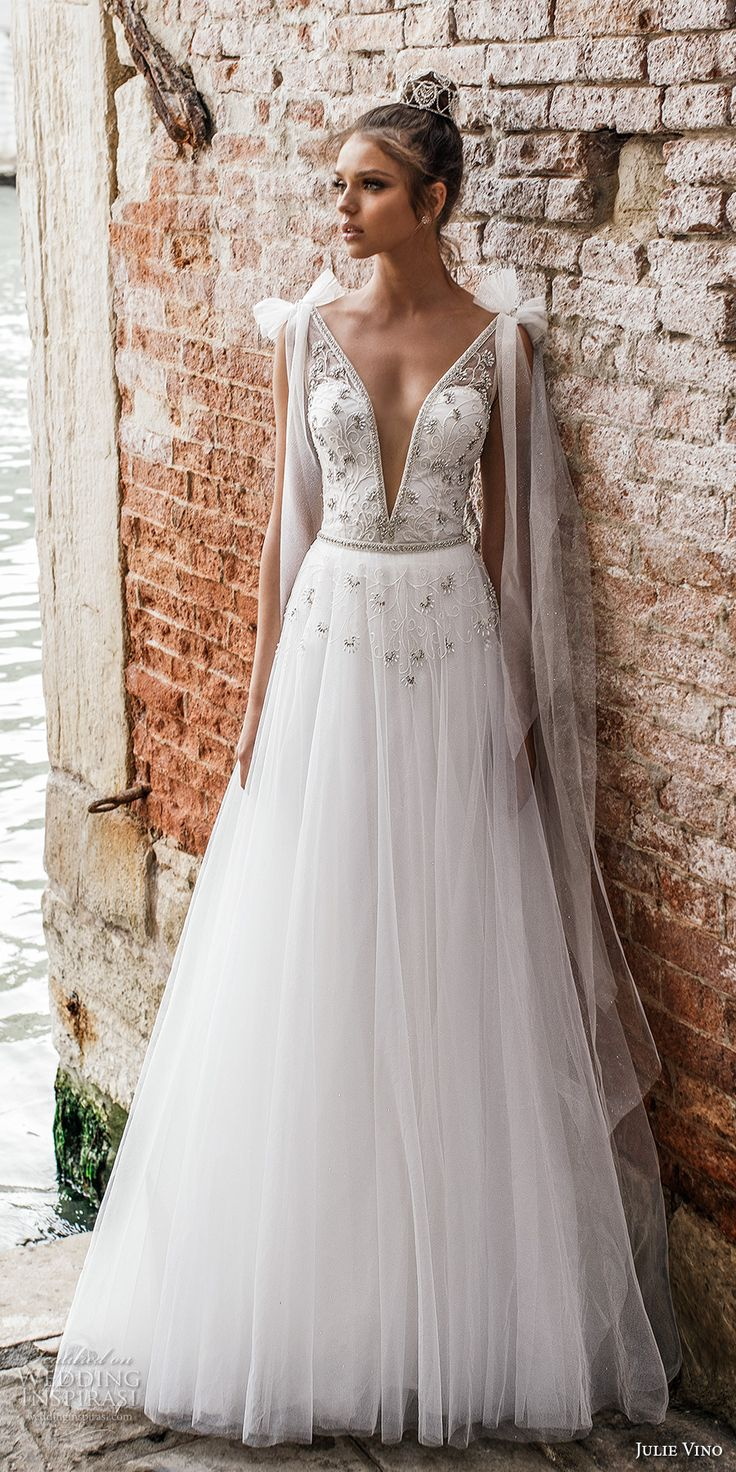 julie vino spring 2018 bridal sleeveless deep plunging v neck heavily embellished bodice romantic a  line wedding dress open v back sweep train (08) mv -- Julie Vino Spring 2018 Wedding Dresses
