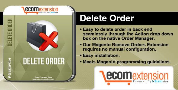 Magento Delete Order Extension   http://codecanyon.net/item/magento-delete-order-extension/7111205?ref=damiamio       The Delete Order extension allows you to delete the order in the online store. This extension simplifies the way of deleting order via an Action drop-down box.  Overview:    Magento doesn't allow you to delete orders. You can only mark it to canceled but you can't delete it. This extension allows you to delete order in back end seamlessly through the Action drop down box on…