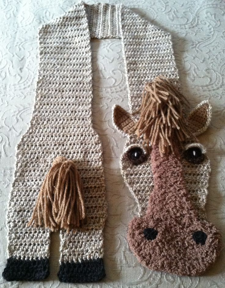 HOTH (hot off the hook) Made these for my friend who is from a family of horse lovers. They are so cute I would even wear them.  Pattern is from here ~ http://www.ravelry.com/patterns/library/horsin-around-scarf