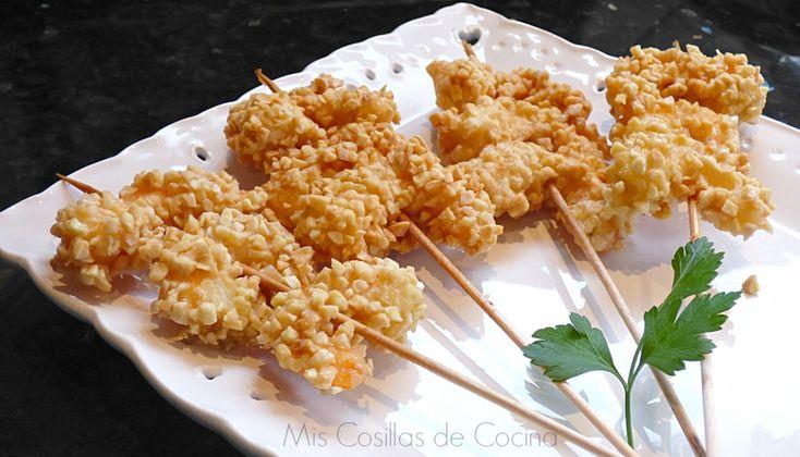 Gambas con crocante de almendra - Mis Cosillas de Cocina