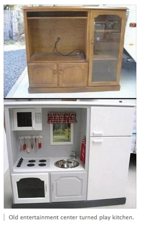 Old entertainment center converted to child's kitchen...