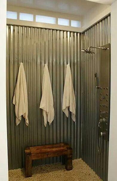 Tin shower. No scrubbing.