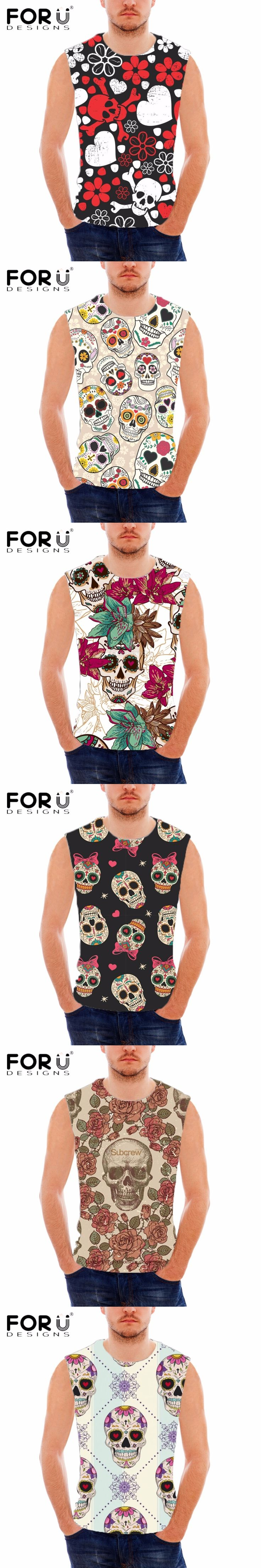 FORUDESIGNS Men's Summer Sleeveless Fitness Tank Top Punk Skulls Printed Breathable Vests For Man Workout Bodybuilding Tank Tops