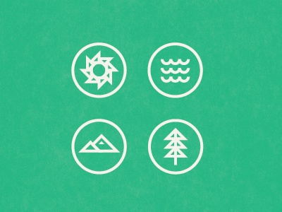 Designspiration — Dribbble - Sun, Sea, Mountain, Tree by Brent Couchman