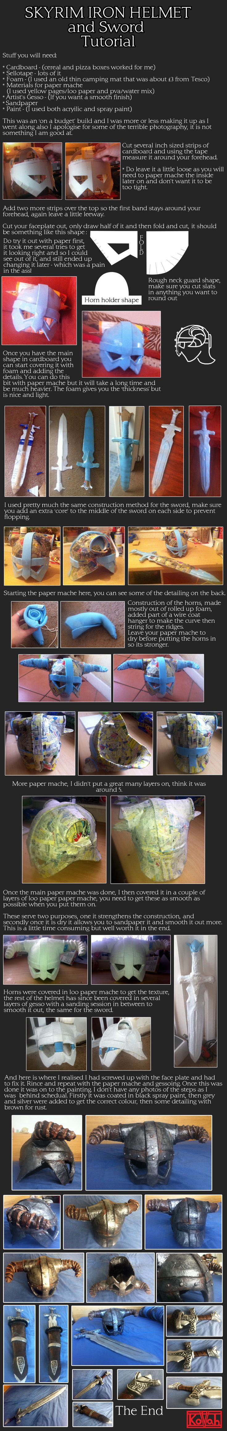 Iron Helmet and Sword cosplay tutorial by ~kovah on deviantART (because I do want to do a Skyrim costume someday... when I have time to complete at least the main quest line)