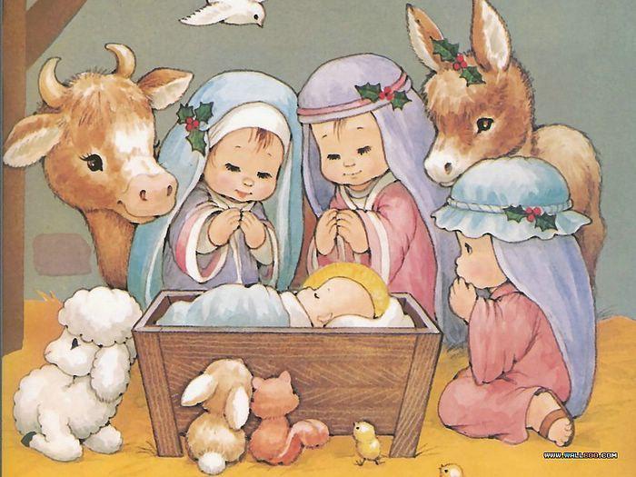 christmas nativity scene wallpaper | ... Jesus Wallpapers :Shepherds Visit Jesus - The Nativity scene Wallpaper