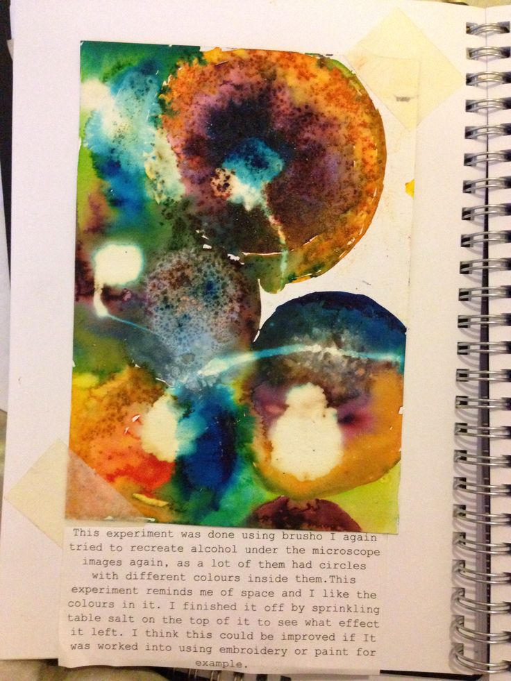 To do this experiment i used brusho again. I used a paintbrush to make circles of water on the page then sprinkling brusho within it. I done this several times and then used table salt and sprinkled it on top.