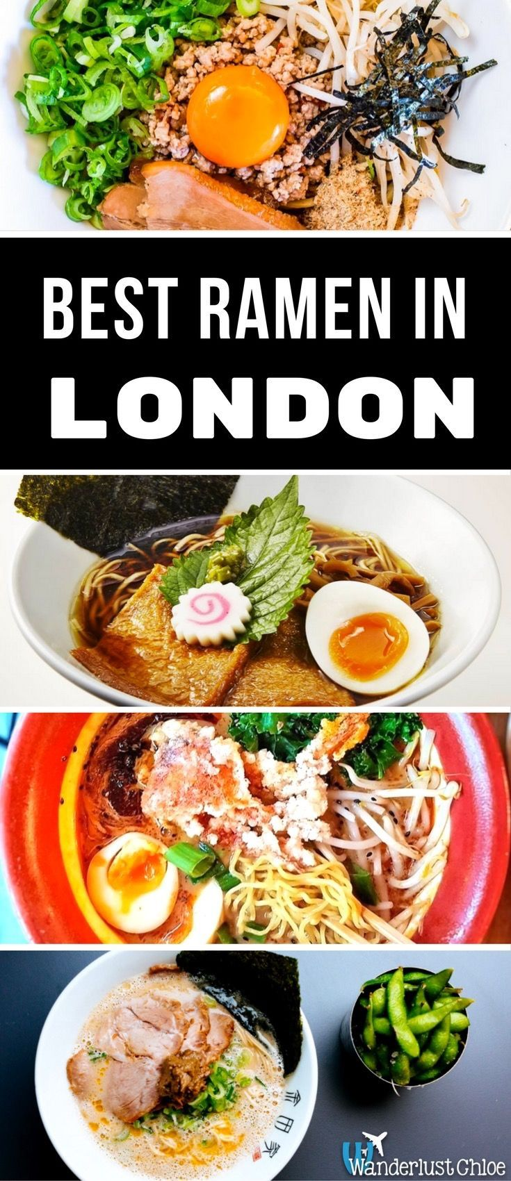 Best Ramen In London. From delicious broths at Tonkotsu to truffle ramen at Kanada-Ya and the spiciest of noodle soups at Sasuke, here are the top restaurants in London for a great Japanese ramen. https://www.wanderlustchloe.com/best-ramen-in-london/