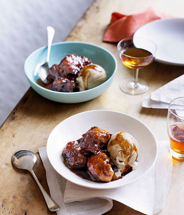 Australian Gourmet Traveller recipe for panela syrup dumplings with espresso-caramel ice-cream.
