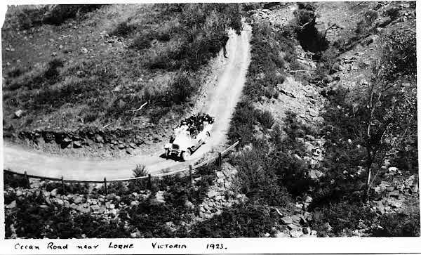 1923 shot of the Ocean Road near Lorne, Victoria (before it was 'great'). VicRoads Centenary 1913-2013.