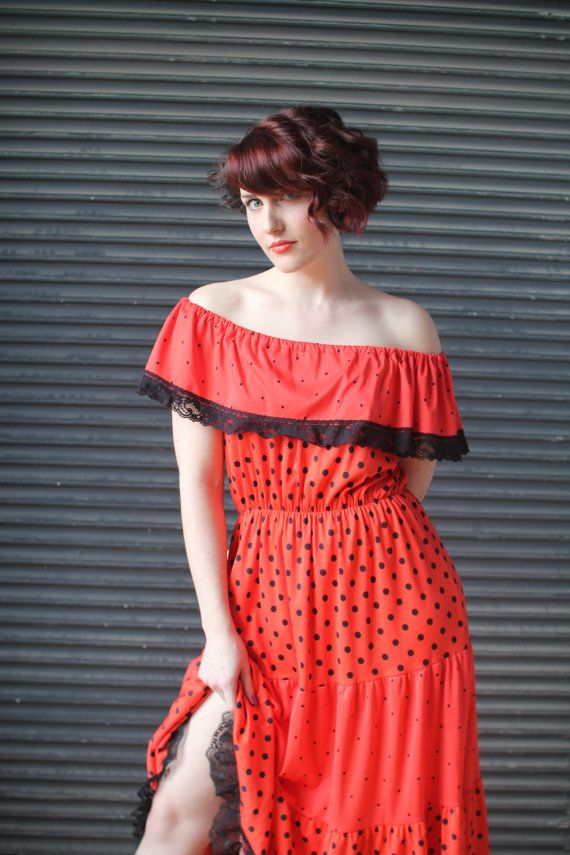 Vintage red off the shoulder flamenco style dress with black polka dots, 1980s