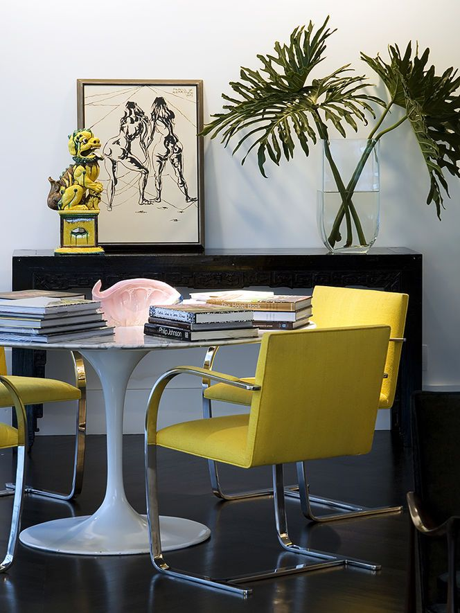 Via Cush And Nooks Tulip Table With Yellow Chairs LOVE These