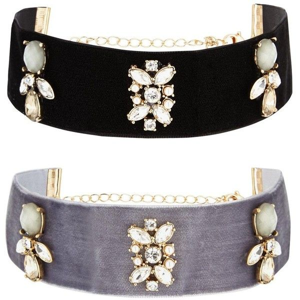 V By Very 2 Pack Jewelled Chokers ($22) ❤ liked on Polyvore featuring jewelry, necklaces, jeweled choker necklace, jewel necklace, jeweled choker, jewel choker and choker necklace