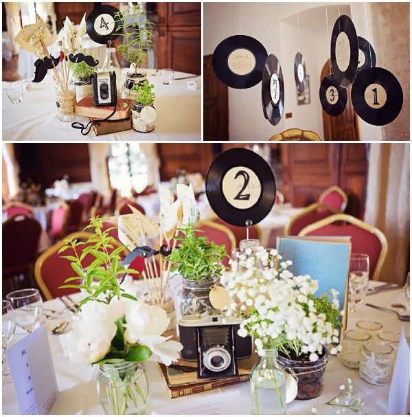 music themed wedding decor / © Blanc Coco Photographe..OLD RECORDS AS TABLE NUMBERS, SHEET MUSIC WRAPPED JARS W/ FLOWERS