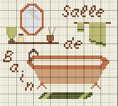 Salle de bains-bathroom - point de croix-cross stitch - Blog : http://broderiemimie44.canalblog.com/