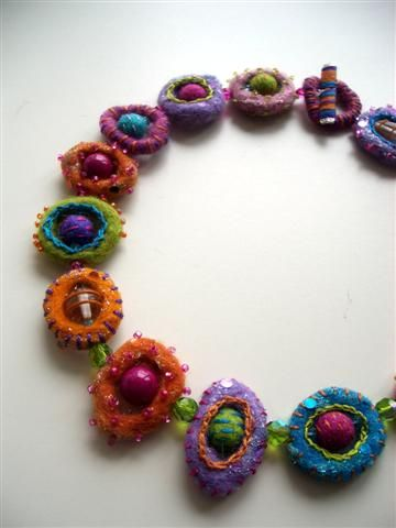 Felty Fiesta necklace using needle felted loops with stitching and other embelishments