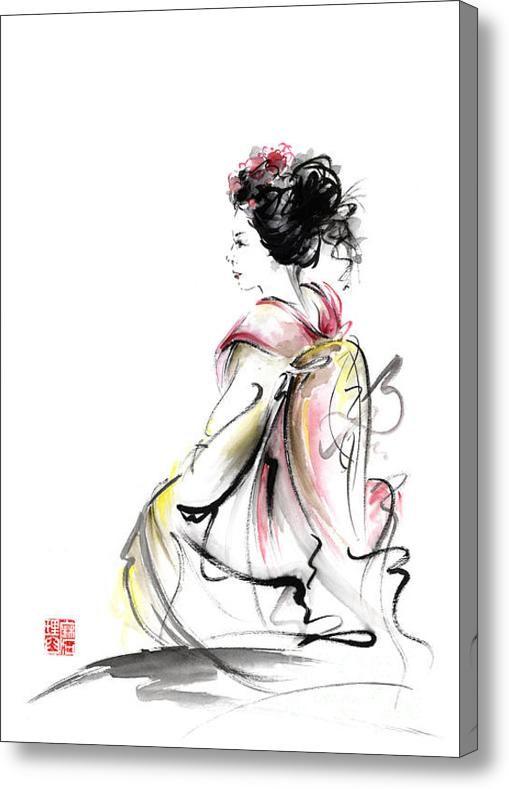 Гейша Японка Молодая девушка в кимоно Токио Ткань Оригинальный дизайн Япония Картина Art акриловые Печать Мариуш Szmerdt